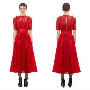 Self Portrait Red Geometric Lace Midi Dress